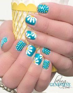 Polka dots and daisy petals nail art #nailart