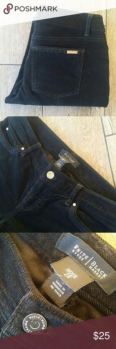 """WHITE HOUSE BLACK MARKET SKINNY CORDS Black skinny corduroy WHBM silver tab on back pocket Button/zip close 14.75"""" across top of waist 30.5"""" inseam 6.75""""leg opening at hem No rips, stains or fading Smoke free home White House Black Market Pants Skinny"""
