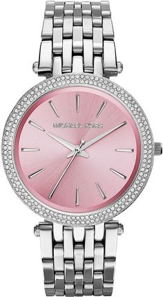 $195, Michl Kors Stainless Steel Pink Dial Darci Watch by Michael Kors. Sold by Neiman Marcus.