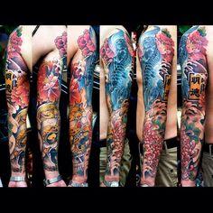 koi fish tattoo, kapala tattoo, peony tattoo by Meng Xiangwei @greattangtattoo http://facebook.com/greattangtattoo