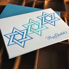 Happy Chanukah letterpress single folded card by paisleytreepress, $4.25
