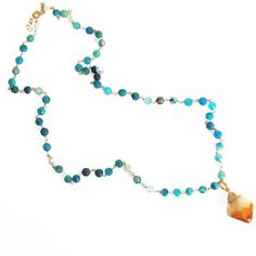 Raw-Citrine Blue Necklace