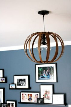 West Elm knock off Bentwood Pendant light.  Full tutorial by Designer Trapped in a Lawyer's Body