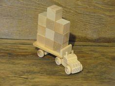 Handmade Wooden Toy Block Truck with 10 Blocks Wood Toys Waldorf Kids Boys Childs Birthday Gift Present Fun