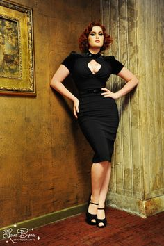 Pinup Couture - Violet Dress in Black Bengaline with Black Velvet | Pinup Girl Clothing