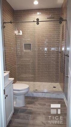 Small bathroom with shower - Designed by Nicole Tice, Allied ASID, Interior Designer Project Management by Scott Tice Tice Kitchens & Interiors, LLC Basement Remodel Adding a Wet Bar and Bathroom basementremodeling Bad Inspiration, Bathroom Inspiration, Bathroom Inspo, Renovation Design, Casa Disney, Small Bathroom With Shower, Small Basement Bathroom, Showers For Small Bathrooms, Small Walk In Showers