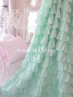 Ruffled Curtain Drape Panel in Aqua Blue Ruffles for your Shabby Chic Coastal Beach Cottage Romantic Home or Caribbean retreat. Shabby Chic Beach, Shabby Chic Cottage, Shabby Chic Decor, Ruffle Shower Curtains, Drapes Curtains, Aqua Blue, Pink, Mint Green, Cottage Showers