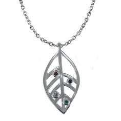 Custom Jewelry, Open Leaf Pendant with Unique Gemstones