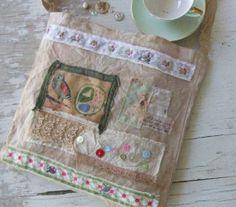 Shabby Chic French Market Bag - Vintage - embellishments - Owl Postcard fabric - French bag - tote bag - French tote - Vintage fabric