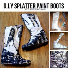 DIY Splatter Paint Boots. Channel your inner Jackson Pollock with the D.I.Y Splatter Paint line-up on ScrapHacker.com