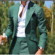 2017 Latest Design Mens Dinner Party Prom Suits Groom Tuxedos Groomsmen Wedding Blazer Suits for men Green suit (Jacket+Pants) Mens Dinner Suits, Prom Suits For Men, Green Suits For Men, Black Suits, Stylish Prom Suits, Suit For Men, Stylish Outfits, Guys Suits, Best Suits For Men