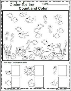 Under The Sea Count And Color Under The Sea Count And Color Free Sea Life Math Worksheet For Kindergarten And Preschool Count And Color The Sea Creatures Then Write The Numbers In The Corresponding Space This Is Under The Sea Count And Color Sea Activities, Graphing Activities, Kindergarten Math Activities, Animal Activities, Preschool Worksheets, Preschool Activities, Coloring Worksheets, Subtraction Worksheets, Addition Worksheets
