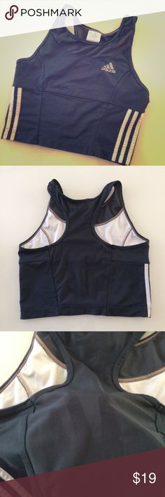 Adidas sports tank athletic wear vintage I think I've owned this tank or sports bra since the late 90s and have hardly ever worn it.  It's in great condition. Polyester Lycra blend. Adidas Tops Tank Tops