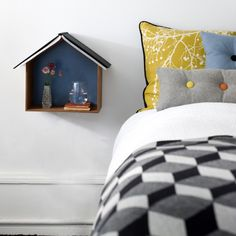 The traditional bedside table is a space hog that offers little storage in return. For small spaces, consider a better bedside companion: the wall-mounted