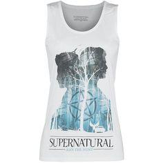 Valkoinen 'Silhouette' -toppi esittää 'Supernatural' -sarjan kahden päähenkilön aavemaisia ääriviivoja. Dean ja Sam Winchesterin ääriviivat piirtyvät synkän metsän eteen. Itse Lucifer ilmenee myös pentagrammin muodossa. Kaikki mysteerisarjan fanit tulevat rakastamaan tätä tyylikästä paitaa. Hihattomassa paidassa on leveät olkaimet ja pyöreä pääntie.