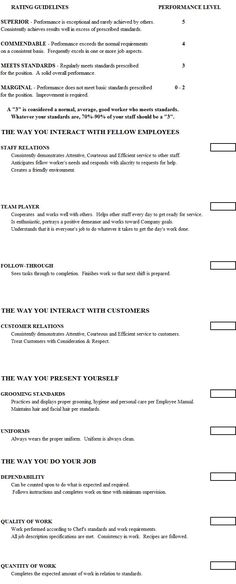 Sample Employee Evaluation Forms  Laser    Template