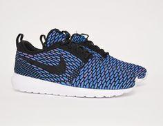 #Nike Flyknit Roshe Run Black/Blue #sneakers