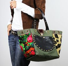 Military Canvas and Leather Tote Bag/Upcycled by NeroliHandbags