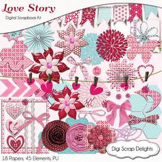 Valentine Digital Scrapbooking Kit in Pink & by DigiScrapDelights #pink #red #valentine #digitalscrapbooking