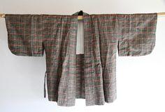 Boho Green  Japanese Vintage Kimono Jacket Dochugi by CJSTonbo on Etsy