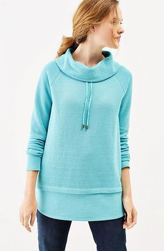 the best attitude b4699 12fbe J. Jill Relaxed Waffle-Knit Cowl-Neck Top