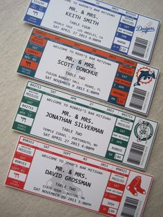 Sport Ticket Escort Cards by theoriginalpear on Etsy, $1.35 -  Saving this idea for the Bar Mitzvah Idea board