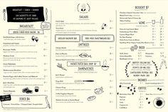 Menu for Jack's Wife Freda, NYC. Designed by Paperwhite Studio. Cafe Menu Design, Restaurant Menu Design, Restaurant Branding, Mojito, Jacks Wife Freda, Soho Restaurants, Delivery Menu, Menu Layout, Menu Book