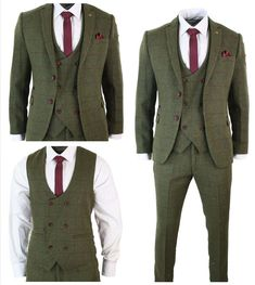 Custom Size New Slim Fit Men 3pcs Tweed Olive Green Wine Tailored Wedding Suits
