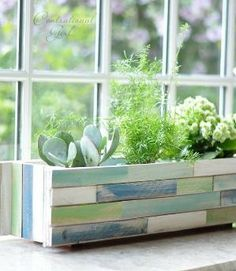 DIY Wood Shim Window Box Planter by SAburns