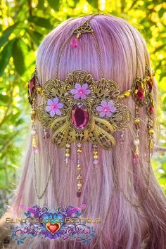 Beautiful handmade one of a kind lilac & purple coloured luna butterfly crown.