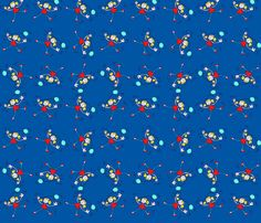 Girl with blue baloon fabric by loca____ on Spoonflower - custom fabric