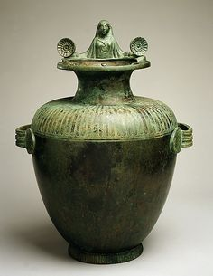 Bronze hydria (water jar)    Period:      Classical  Date:      mid-5th century B.C.  Culture:      Greek, Argive  Medium:      Bronze