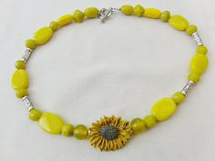 Bright and Cheerful Yellow Sunflower and Bead by OswestryJewels