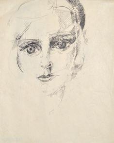 Erika Giovanna Klien, Self-portrait, 1924, chalk and pencil, 26 x 20,5 cm
