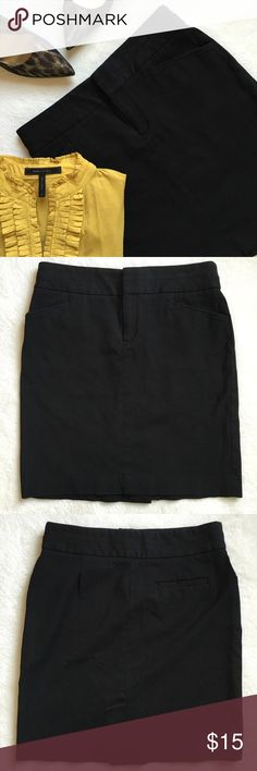 """{Banana Republic} Stretch Pencil Skirt Classic black pencil skirt with stretch. Two front pockets. One back pocket. Thick waistband. Back slit. Zipper and hook and eye closure. 15"""" flat across waist. Size: 6 Petite 18.75"""" long. 56% viscose 39% cotton 5% elastane. Excellent preloved condition Banana Republic Skirts Pencil"""