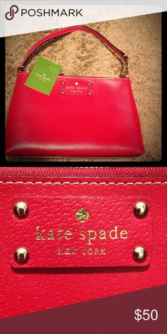 Kate Spade red wristlet NWT Wellesley Linet handbag/ wristlet pillbox red kate spade Bags Clutches & Wristlets