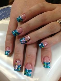 ideas nails shellac ideas spring simple for 2019 Stylish Nails, Trendy Nails, Hawaiian Nails, Pedicure Nail Art, French Pedicure, Pedicure Ideas, Manicure, Spring Nail Art, Toe Nail Designs