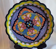 MEXICAN-FOLK-ART-POTTERY-PLATE-HERNANDEZ-TALAVERA-HANDPAINTED-12-039-039-MEXICO