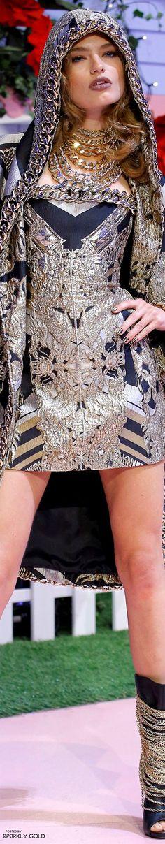 Philipp Plein Spring 2017 RTW silver brocade skirt and hooded jacket fashion