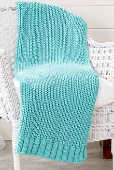 Free Knitting Pattern for Shaker Rib Blanket - This easy afghan pattern features a slip stitch rib pattern. Quick knit in bulky yarn.