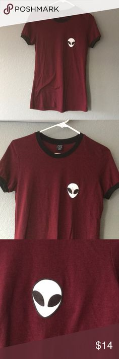 Burgundy 90s alien ringer tee brandy melville styl 90s vintage ringer tee with alien. EUC! brandy melville style but tag says EMPYRE. urban outfitters style. Brandy Melville Tops Tees - Short Sleeve