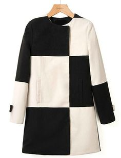 Black White Plaid Long Sleeve Woolen Coat US$39.89