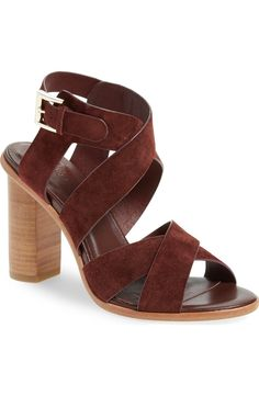 Wide, crisscrossing straps shaped from soft sueded leather wrap the foot in this trend-right sandal new to the Anniversary Sale.