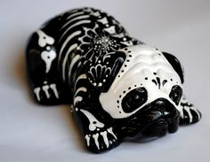 Day of the Dead Painted Sugar Skull Dog Statue