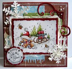 Lili of the Valley *Christmas Bears - Sledge* Diy Christmas Cards, Xmas Cards, Diy Cards, Handmade Christmas, Christmas Crafts, Christmas Animals, Christmas Ideas, Winter Karten, Whimsy Stamps