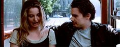 Before Sunrise: Ethan Hawke and Julie Delpy. Before Sunrise Movie, Before Sunset, Before Midnight, Before Trilogy, Julie Delpy, The Great Escape, Romance, Romantic Movies, Film Quotes