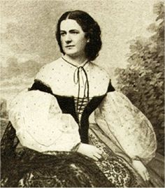 Hetty Cary, descendant of Thos. Jefferson who lived in Richmond during the War.  Asked to sew the first designs of the Confederate battleflag for presentation to Generals Beauregard and Johnston in 1861.  She married General John Pegram in January  1865; he was killed in action at the Battle of Hatcher's Run three weeks later.