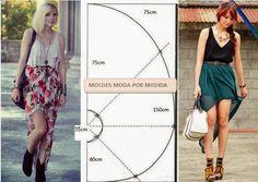 Moldes Moda por Medida: SAIA GODÉ ASSIMÉTRICA - 1