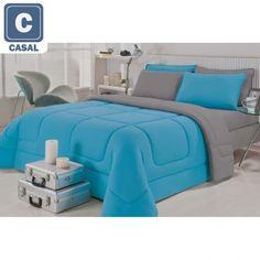 R$ 152,91 Kit Enxoval Brilhante Casal 5 peças: Jogo de Cama + Edredom City Home de Malha 100% Algodão Azul e Cinza