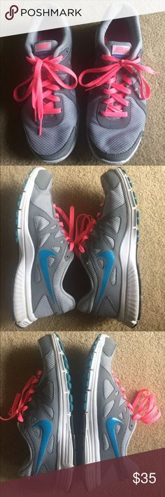 Nike Revolution 2 Running Sneakers Great Condition. Gray, Pink and Blue Running Sneakers. Size 8.5 US // 6 UK. Nike Shoes Sneakers